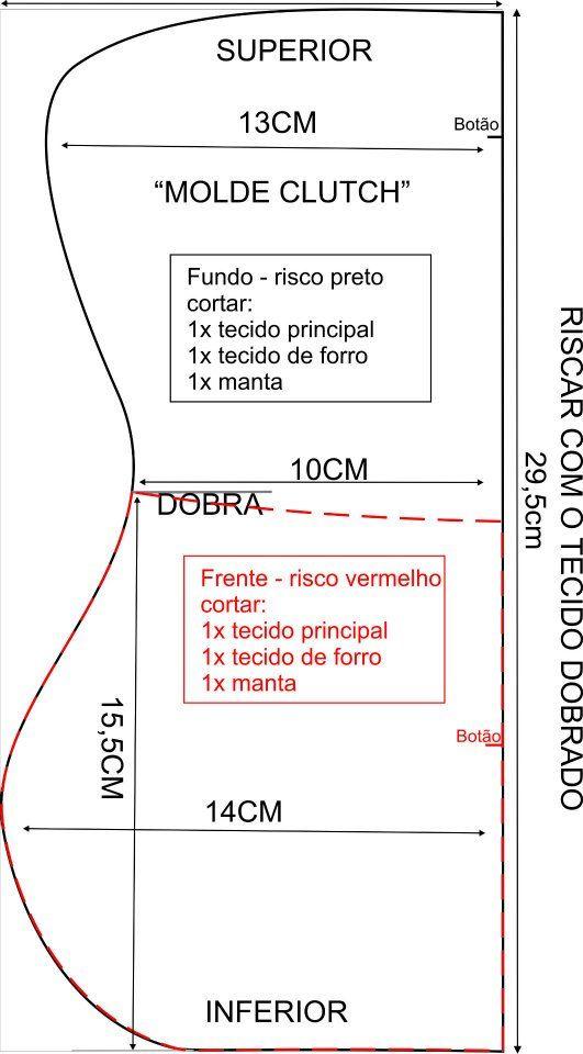 Molde de bolsa carteira - Clutch: Bolsa Sacola, 16O Desafio, Purse, Moldings Clutches, Projeto Vem, Vem Aprend, Sewing, Clutches Projects, Challenges 16