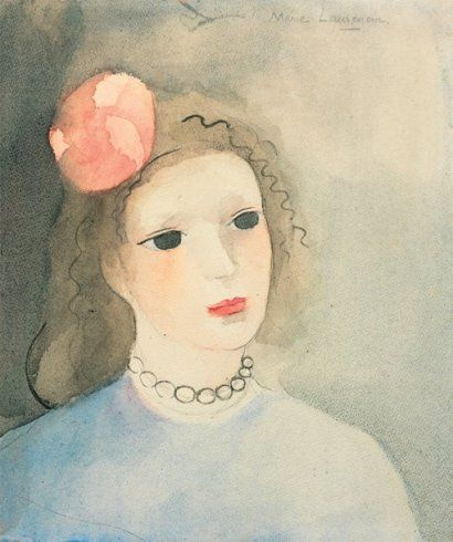 MARIE LAURENCIN (1885-1956) TP Buste de jeune fille aquarelle signée en haut à