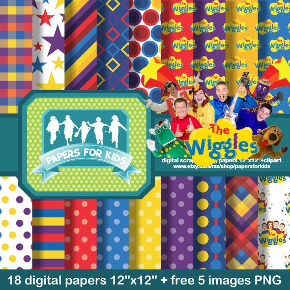 Digital Papers The Wiggles Kids Invitation by PapersforKids