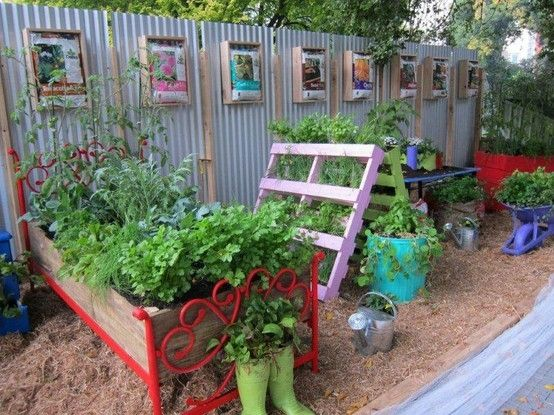 13 best images about garden beds on pinterest gardens for Garden made of waste material