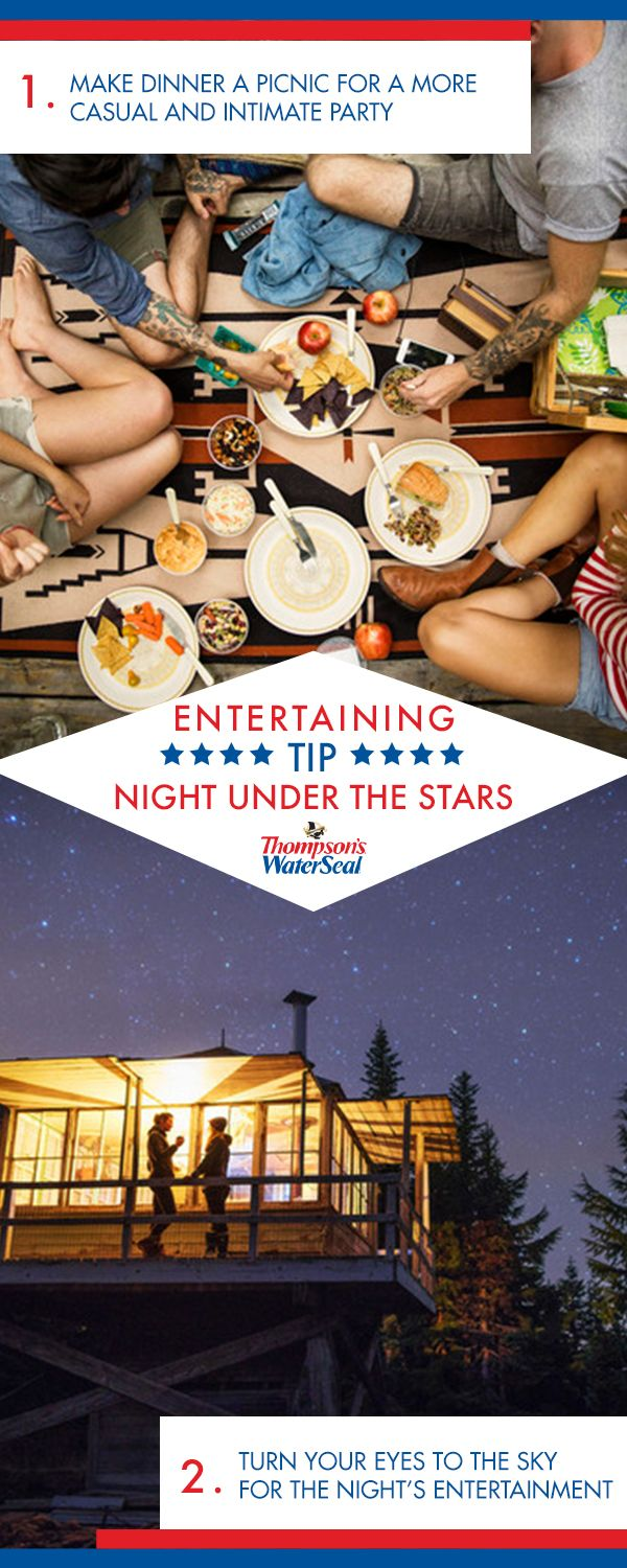 Every night, nature puts on a show, and your deck is the perfect place to watch. For a stellar stargazing party, start with food and drinks. Try a casual picnic-style meal with friends, but take a cue from the astronauts and bring out freeze dried ice cream for dessert. Then, when it gets dark, lay blankets down on the deck and enjoy the show. Finally, make sure your deck lasts for all the future stargazing nights with Thompson's WaterSeal.
