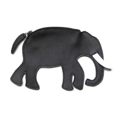Black Leather Elephant Coins Wallet
