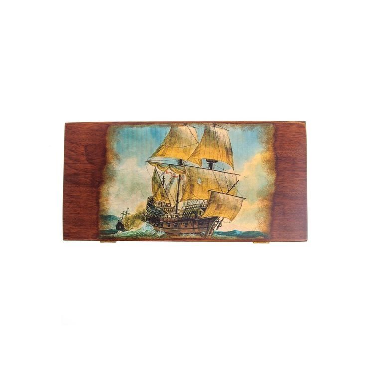 Handmade Wooden Backgammon Board Game Set, Ancient Clipper Sailing Ship Picture Exterior, Large