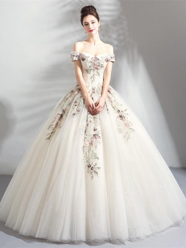 Light Champagne Floral Embroidered Princess Wedding Dress Medieval Wedding Dress Embroidered Wedding Dress Princess Wedding Dresses