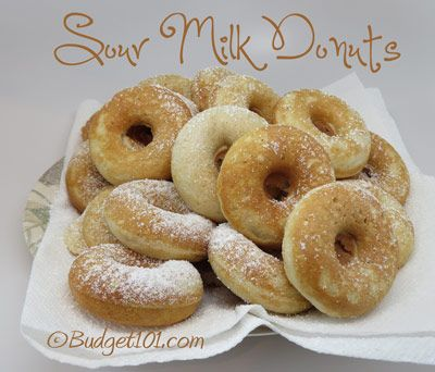 MYO Sour Milk Donuts- here's a yummy recipe to make with milk that soured before you had a chance to use it! (Click on photo for recipe)