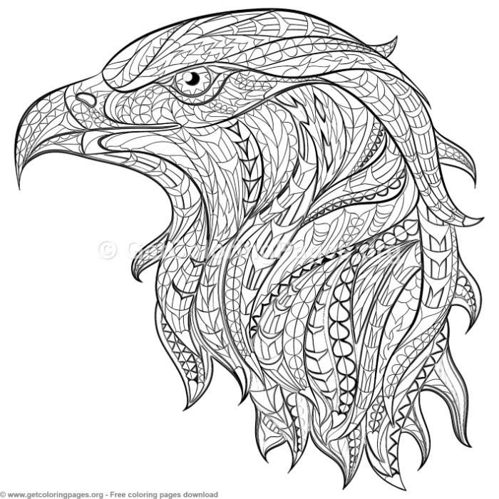 Patterned Zentangle Eagle Coloring Pages Getcoloringpages Org