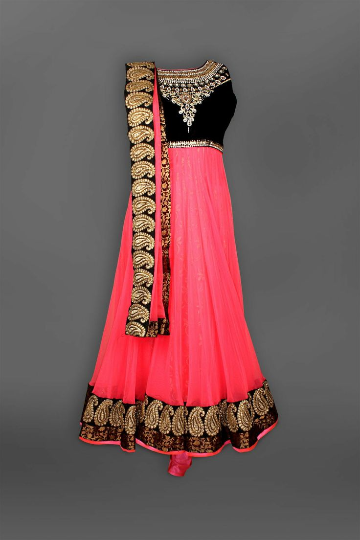 Black & coral Embroidered Yolk Anarkali - SUITS