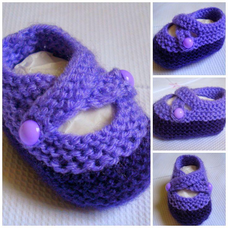 Minhas linhas e eu: Receita Sapatinho para bebê, em tricot (sapatinho tipo boneca, com duas tiras)