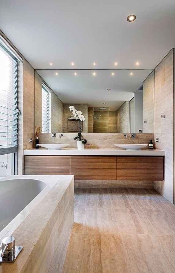Love This Double Sink Cupboard Perth House By Swell Homes Ensuite Bathroom Stone Wood And White