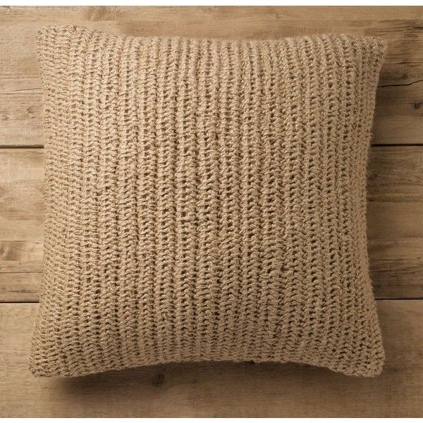 Hand-Knit Jute Pillow Cover (165 RON) ❤ liked on Polyvore featuring home, home decor, throw pillows, jute throw pillows, cream throw pillows, ivory throw pillows, textured throw pillows and beige throw pillows