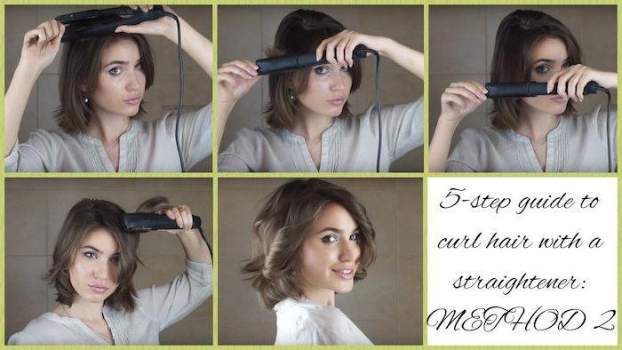 sehr kurze haare lockig stylen, locken selber machen, natürliche haarfarbe, locken mit glätteisen