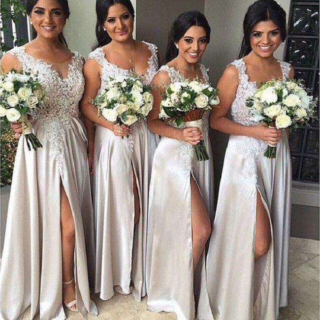 V-neck Sleeveless bridesmaid dress,Lace Appliqued Floor-length dress,Silver Slit Satin Bridesmaid Dresses,Long Wedding Party Dresses