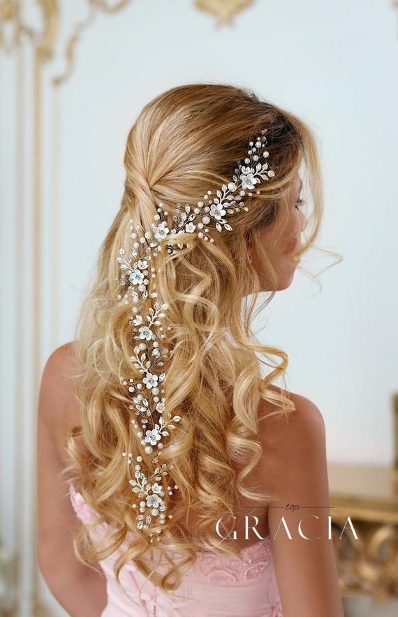 Bridal Hairpiece Floral Hair Vine Wedding Hair Vine Bridal Hair Vine Wedding Headpiece Pearl Crystal Hair Vine Flower Hair Vine