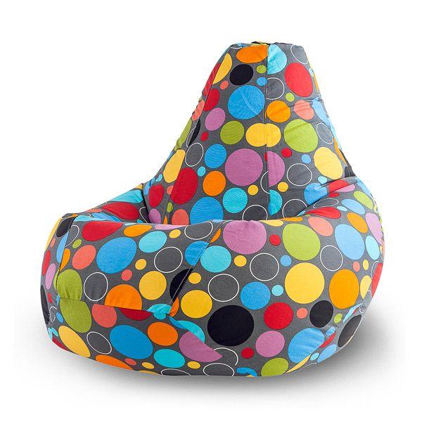 Кресло-мешок Boro XL (принт) Бескаркасное кресло-мешок «Boro» сразу же станет центром притяжения любого дома или офиса, ведь его отличает внушительный размер и жизнерадостная расцветка! Разноцветные круги, украшающие жаккардовый чехол этого кресла, напомнят о самых ярких моментах вашей жизни. Мягкая основа кресла так и приглашает присесть и расслабиться, забыв о всех проблемах и невзгодах. Идеальный предмет интерьера для тех, кто ценит комфорт и удобство!