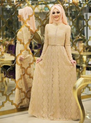 Bade Evening Dress - Salmon Pink - Minel Ask