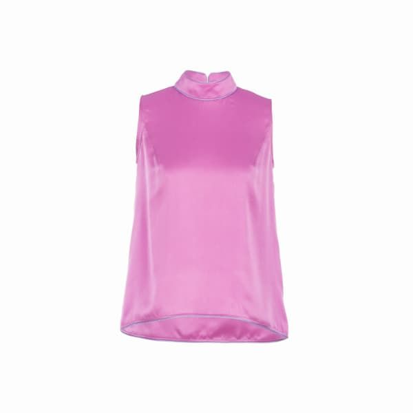 Pink silk satin top fastening at back with a concealed zipper.