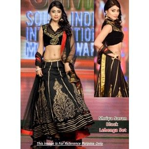 #Designer #Shreya Saran Bollywood Replica Lehenga Shop now : http://www.valehri.com/shreya-sharin-black-lehenga-replica-1796