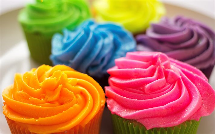 Download wallpapers colorful cupcakes, colored cream, pastries, sweets, cakes