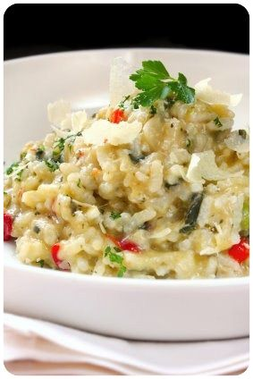Chicken risotto recipe - without all the butter and cheese of typical risottos. Great meal - about an hour to make, but simple. (Leftovers were great too!) --AB