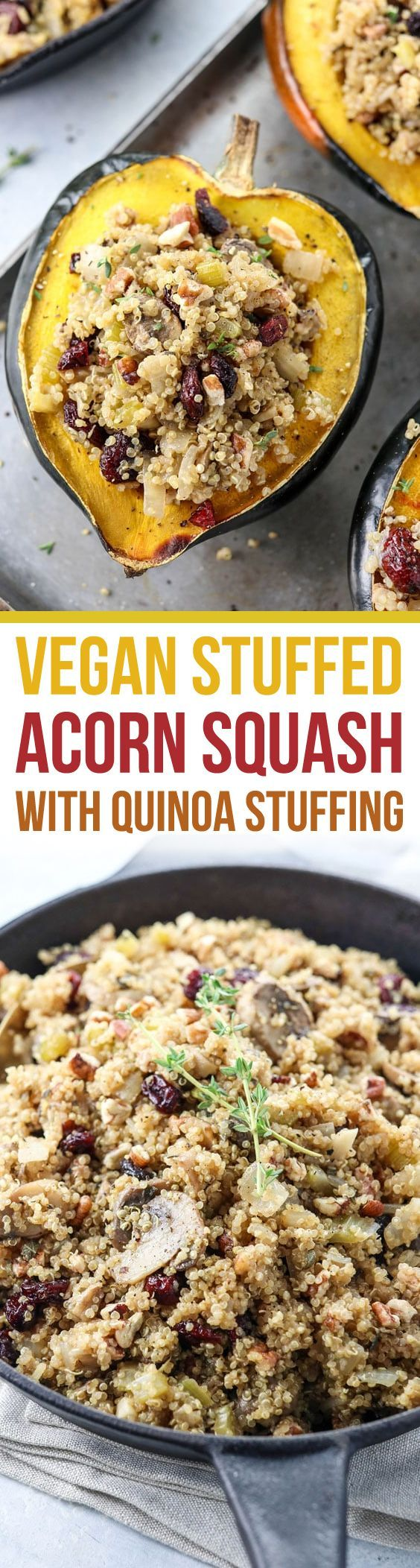 This Stuffed Squash recipe is loaded with plant-based protein, from the quinoa stuffing, and makes a great vegan or vegetarian dinner. It's perfect for a main entree for Thanksgiving or Christmas, too. Naturally gluten-free and dairy-free. https://detoxinista.com/stuffed-acorn-squash-vegan-quinoa-stuffing/