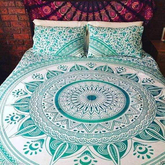 Queen Indian Mandala Duvet Doona Cover Bedding Blanket Quilt Etsy Mandala Duvet Cover Tapestry Bedding Mandala Bedding