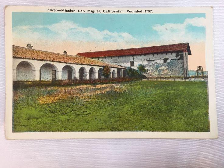 1928 Spanish Mission San Miguel, San Luis Obispo County, CA postcard