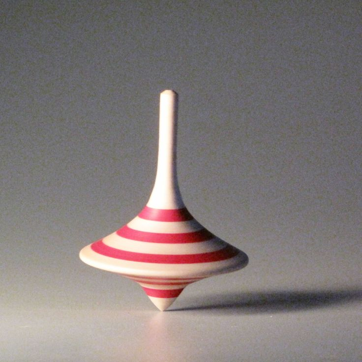 Red striped funnel shaped spinning top by davidturnsbowls on Etsy