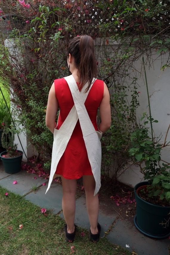 Crossed Back Apron in Raw 100% Cotton with Brick by LauraRosa