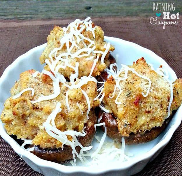 Copycat Olive Garden Stuffed Mushrooms   15 Stuffed Mushroom Recipes   https://homemaderecipes.com/stuffed-mushroom-recipes/