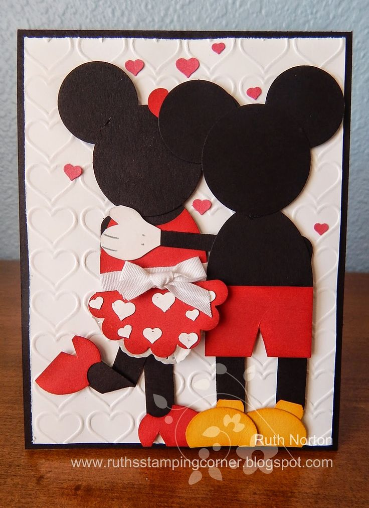 Handmade card Mickey and Minnie Love.  I would like to make a card similar to this for our anniversary.