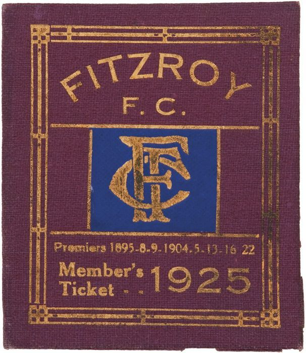 Fitzroy: 1925 Member's Season Ticket, with fixture list & hole… - Sporting - AFL/VFL - Memorabilia - Carter's Price Guide to Antiques and Collectables