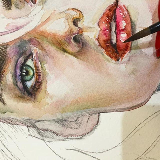 Process Risunok Akvarel Portret Watercolor Process