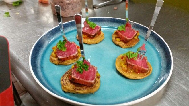 Tuna sweet potato pancakes, corn chow chow Micro cilantro chef Arthur ...