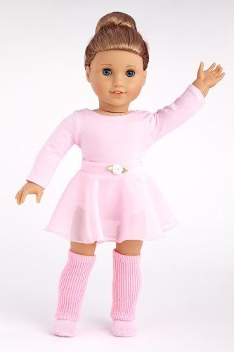 Practice Time - practice ballet outfit includes pink leotard and skirt, leg warmers and ballet slippers - American Girl Doll Clothes  Price : $25.97 http://www.dreamworldcollections.com/Practice-Time-practice-slippers-American/dp/B00CW6F654