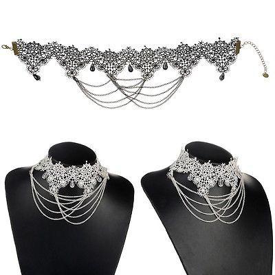Vintage Spitze Halsband Damen Mode Choker Gothic Samthalsband Strass Perlen in Uhren & Schmuck, Modeschmuck, Halsketten & Anhänger | eBay