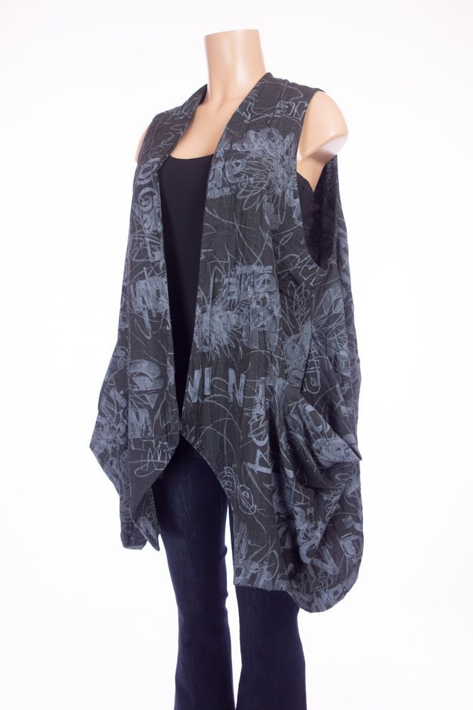 GERSON BRAM Lagenlook Art To Wear Vest O/S M L Gray Blue Draped Jacket #GershonBram #Vest