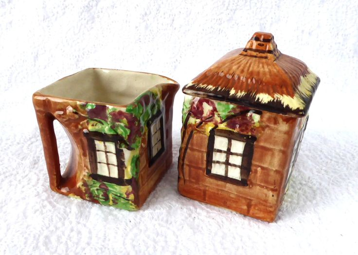 English Cottage Ware Cream And Sugar Price Brothers Hand Painted 1950s Cottageware by AntiquesAndTeacups