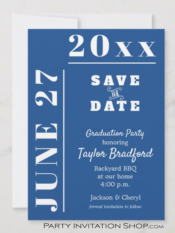 School Colors Graduation Save The Date Cards In