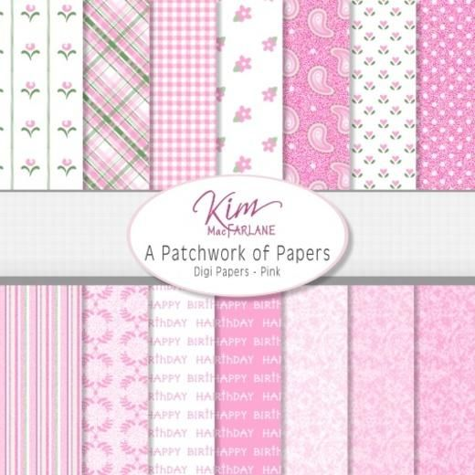 Kim's Digi Papers - A Patchwork of Papers - Pink