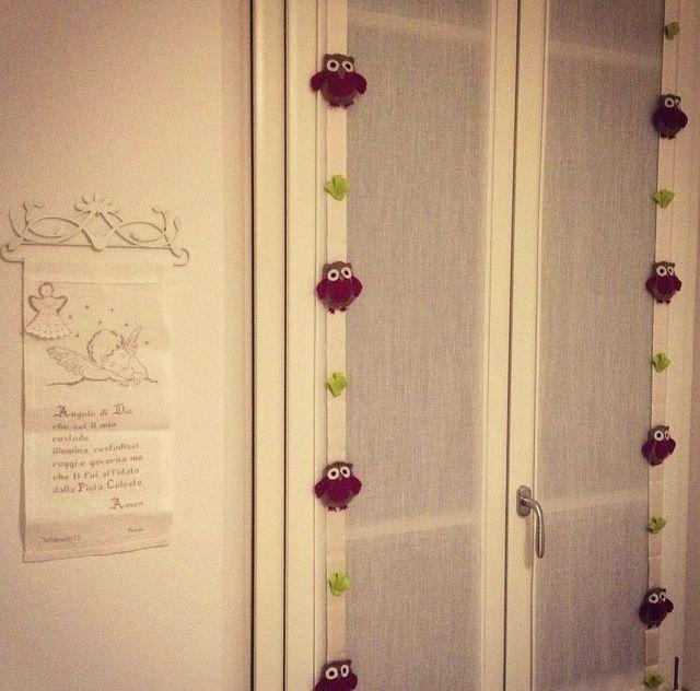 Tende con gufi in panno - curtains with felt owls #cameretta #bambina #ricamo #hobby