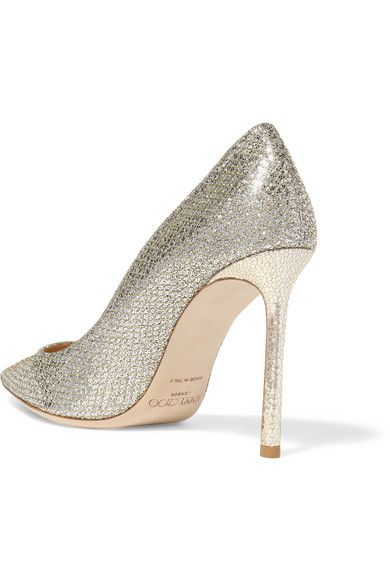 Jimmy Choo - Romy Glittered Leather Pumps - Gold - IT42