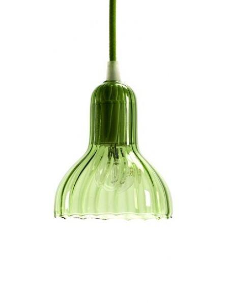 Serax retro hanglamp van glas in het groen met groen snoer in klein formaat