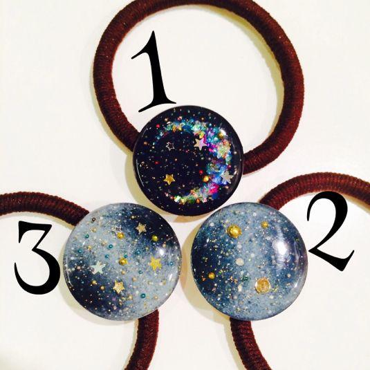✨「スッキリ!!」で紹介されました✨*再×11販*手のひら宇宙〜コインサイズの銀河ヘアゴム〜ミンネのプラネタリウム2015