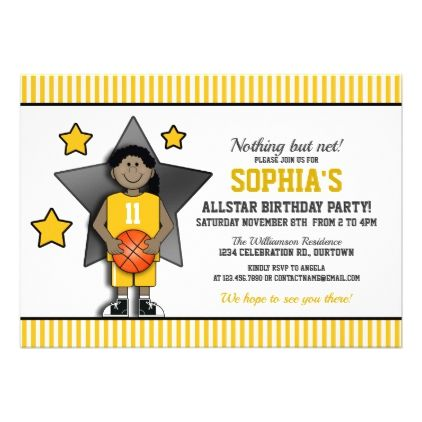Girl's Basketball Birthday Party Card - birthday invitations diy customize personalize card party gift