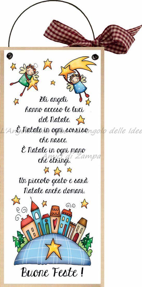 """formelle con ferretto cm 10x24 """"Buone Feste! Gli angeli hanno acceso le luci del natale.."""" idea regalo targa porta con scritta spiritosa country regalo di natale babbo natale albero buon natale auguri: Amazon.it: Casa e cucina"""