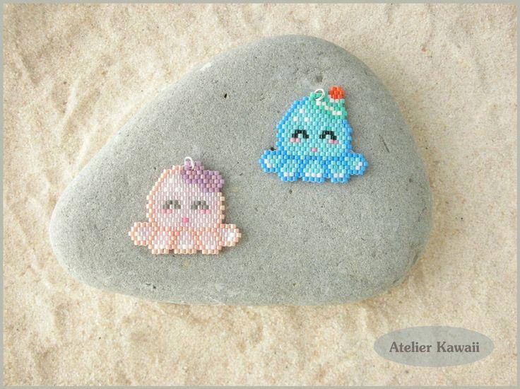 Tutoriel « Poulpy et Poulpette à la plage » en perles Miyuki (tissage brick stitch).