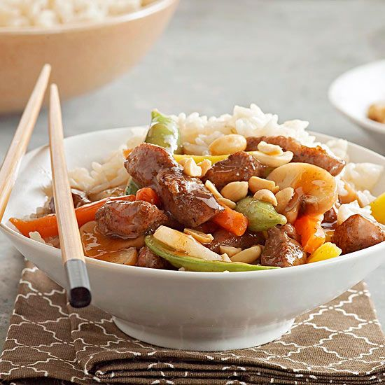 Juicy pork and seasoned veggies are tossed in a sweet plum sauce, then sprinkled with peanuts in this tasty stir-fry dinner that's ready in a snap./