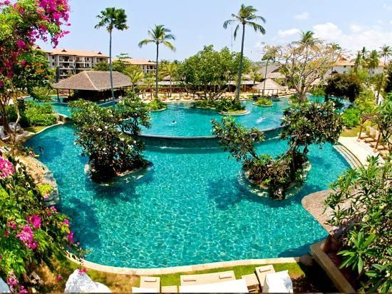 South of Bali's capital is Nusa Dua, peppered with a large number of high end resorts and hotels.