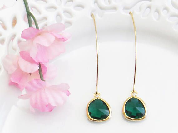 Gift for Sister Green Earrings Long Gold Earrings May