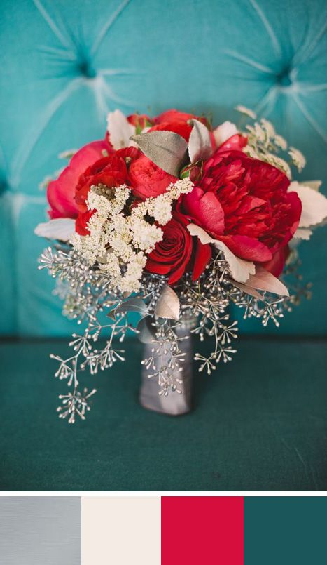 red and silver wedding bouquet ~  we ❤ this! moncheribridals.com #weddingbouquets